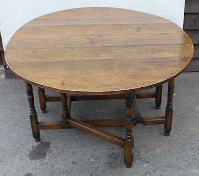 Antique 1940's Large Oak Gate Leg Table with carved turned legs and Drawer.