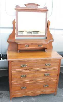 Antique 1920's Satin Walnut Dressing Table with central mirror and Drawers.Metal Handles
