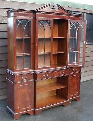 Antique Large 4 Door Breakfront Mahogany Cabinet with Glazed Top Display sections.