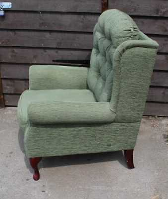 Antique Comfortable Fireside Wing Back Armchair Green Upholstery.Mahogany Legs