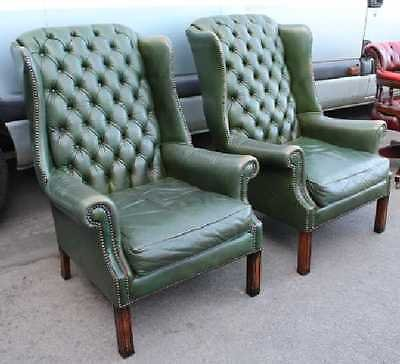 Antique Pair of Green Leather Buttoned Back Wing Back Armchairs