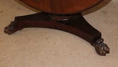 Antique 1900's Mahogany Loo Table with deep rim and claw feet . Can store upright.