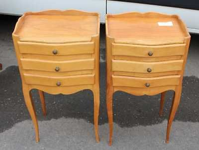 Antique 1940's Carved Pair of Beech Bedsides with small drawers on elegant Legs