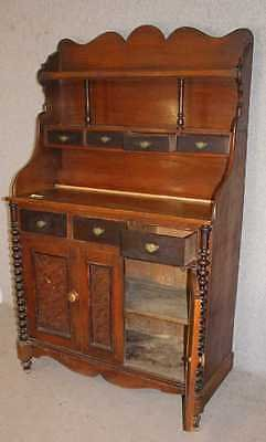 Antique Neat 1900's Antique Pine Scottish Dresser/Cabinet with Display Rack and Cupboard