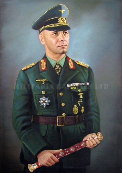 Antique Original Field Marshal Erwin Rommel Oil Painting