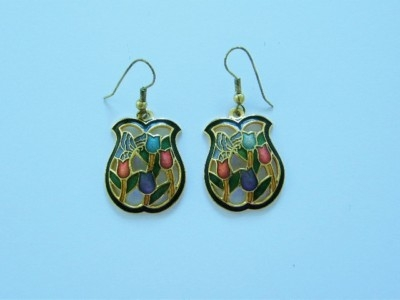 Yellow Metal and Enamal Earrings