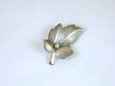 Antique A Sterling Silver Leaf Brooch