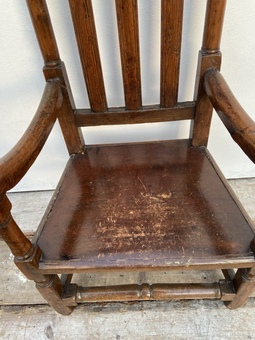 Antique A large 17th c Scottish open arm chair from Braemar Castle