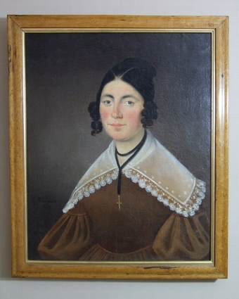 Antique 19th century English school oil on canvas 'Portrait of a lady' in maple frame naive style