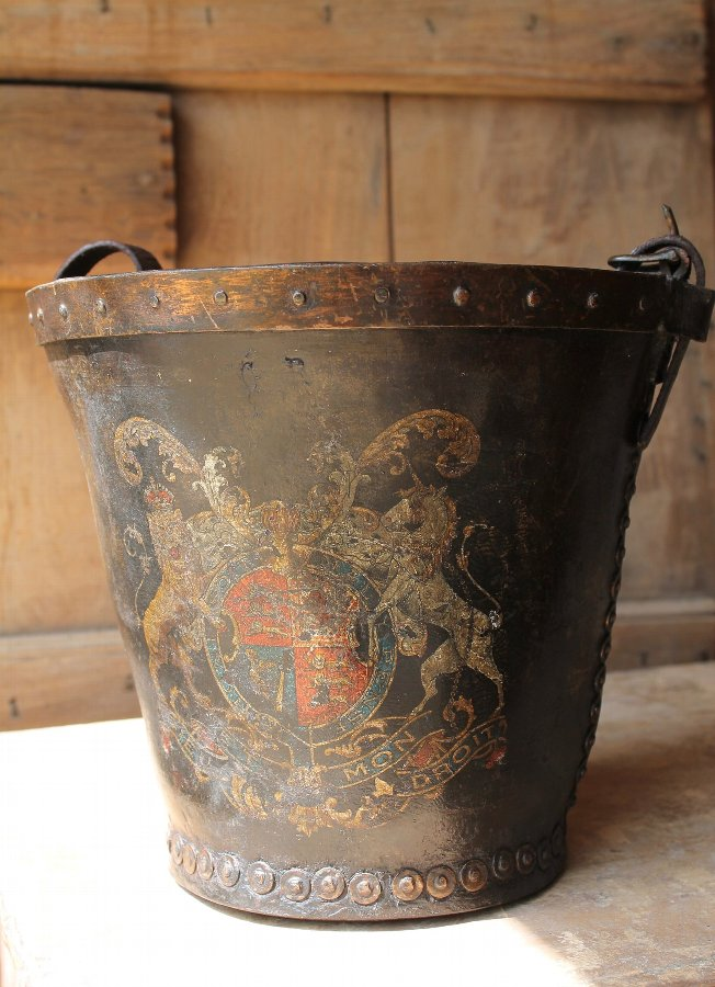 Antique 19thc  leather fire bucket with coat of arms