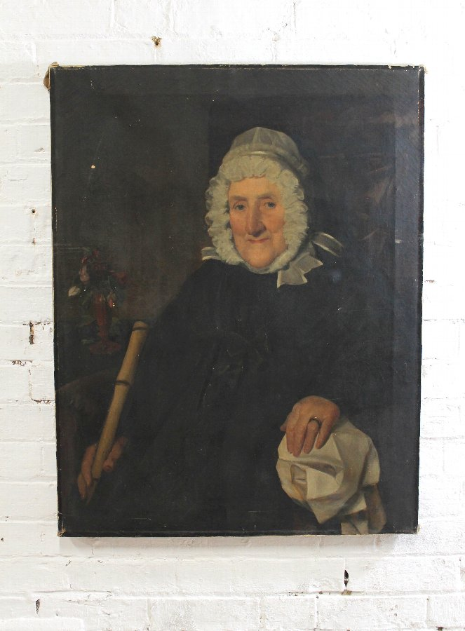Provincial portrait of a lady complete with original walking cane from portrait