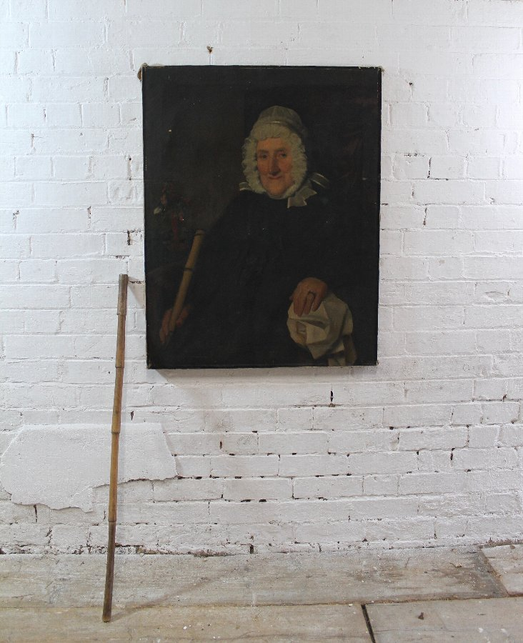 Antique Provincial portrait of a lady complete with original walking cane from portrait