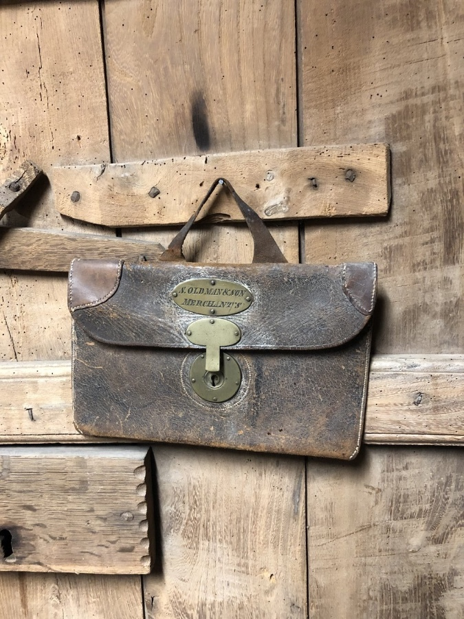 19th century leather merchant's bag