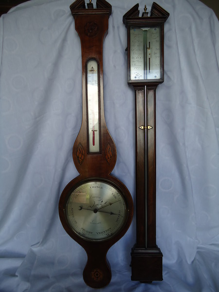 Stick and Wheel Barometer Matched Pair