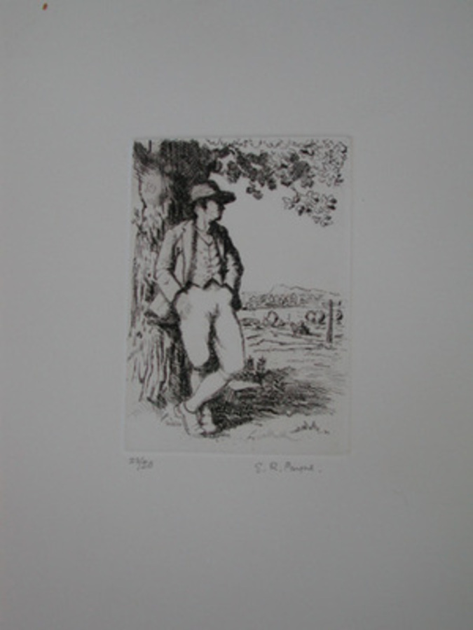 A  limited edtion etching by E R Payne a traveller resting numbered 22/50