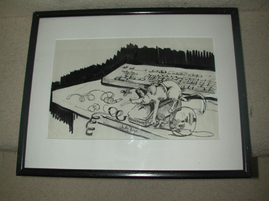 Mouse power by Judy Boyt, English 20h century Pen and ink signed