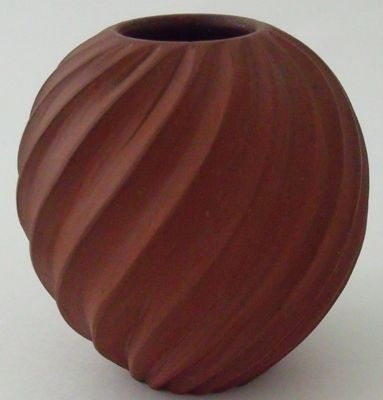 Antique Superb Emily Myers Carved Ball Vase - Studio Pottery
