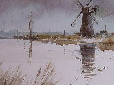 Antique Brian Lancaster Windmill / Boats Watercolour Painting