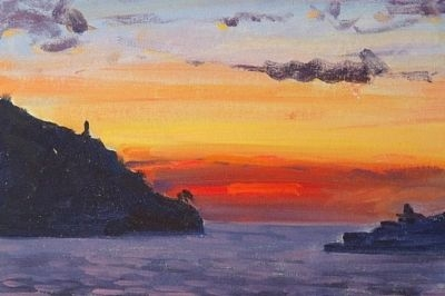 Antique Superb David Rylance Mediterranean Sunset Oil Painting