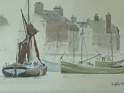 Antique Sybil Mullen Glover Watercolour - Harbour / Quay Scene