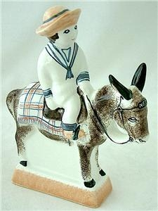 Antique New Rye Pottery The Beach Boy On Donkey (Ned) Figure