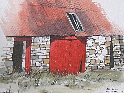 Antique Jim Nicholson (Scottish) Old Barn Whamphill Watercolour