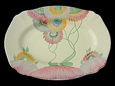 Antique Large Clarice Cliff Pink Pearls Dish / Tray - Art Deco