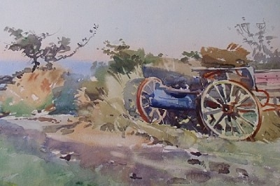 Antique Arthur Royce Bradbury Rural Farm Landscape Watercolour