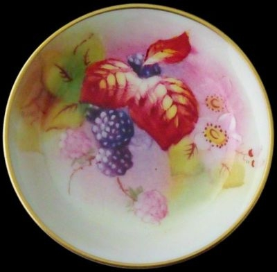 Antique Nice Small Royal Worcester Fruit And Leaves Dish / Tray
