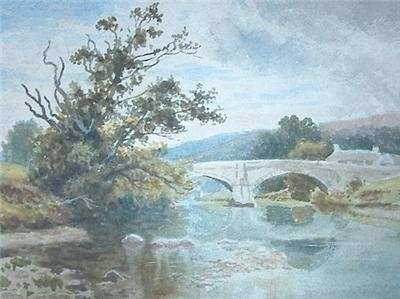 Antique Thomas Spinks River Landscape Watercolour Painting