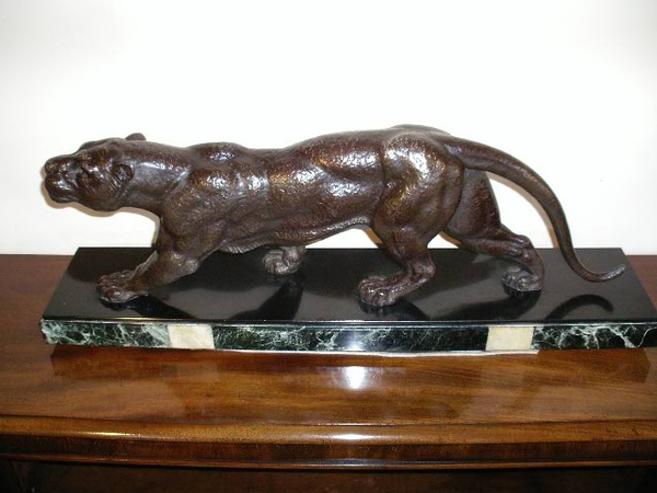 Antique art deco spelter pather