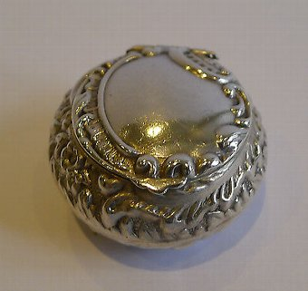 Antique Unusual Antique Sterling Silver Pill Box - Birmingham 1899