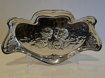 Antique Large Antique English Art Nouveau Sterling Silver Tray - Reynold's Angels - 1907