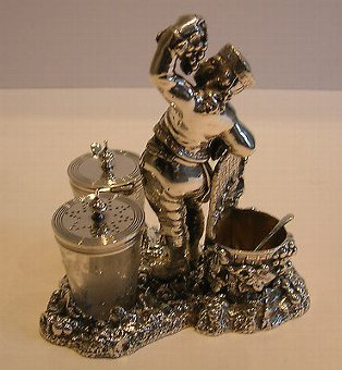 Antique Fabulous Figural Wine Related Cruet Set - Registered 1871 - Silver Plated