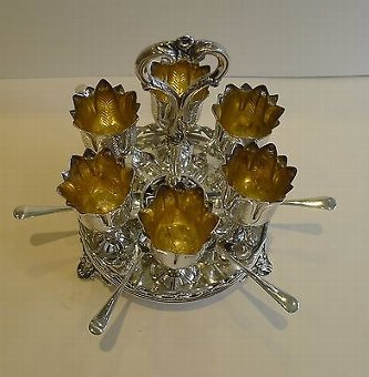 Antique Antique English Silver Plated Egg Cruet For Six by HAWKSWORTH, EYRE & CO. c.1880