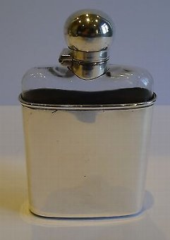 Antique Unusual Antique English Sterling Silver & Glass Hip or Liquor Flask - 1900