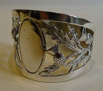 Antique Antique English Sterling Silver Napkin Ring - Scottish Thistles - 1914