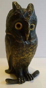 Antique Antique Figural Inkwell - Cast Brass or Bronze Owl With Glass Eyes c.1890