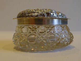 Antique Antique English Cut Crystal Heart Shaped Box - Sterling Silver Lid