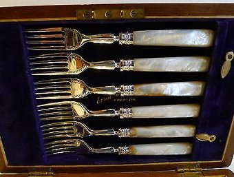 Antique Antique Silver Plate & Mother of Pearl Fruit Knives & Forks - Original Box c1900