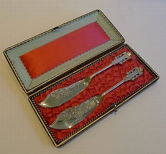 Antique Stunning Pair Silver Plated Butter Knives by ALBERT J. BEARDSHAW & CO. c.1880