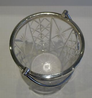 Antique Antique English Cut Crystal & Silver Plated Ice Bucket c.1910