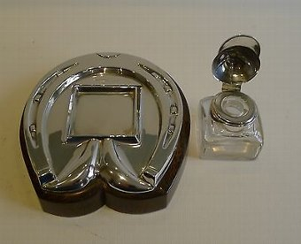 Antique Antique Equestrian / Horse Racing Inkstand / Inkwell in Oak & Silver Plate