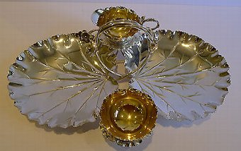 Antique Top Notch Strawberry & Cream Set in Silverplate by Hukin & Heath c.1892
