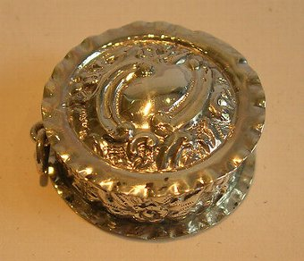 Antique Antique English Sterling Silver Pill Box - Birmingham 1902