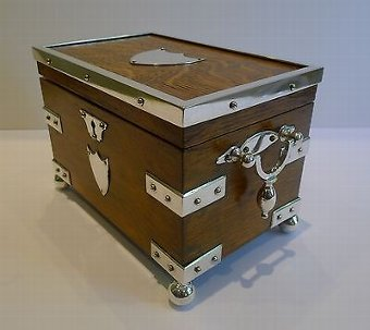 Antique Antique English Oak & Silver Plated Tea Caddy by John Grinsell c.1880