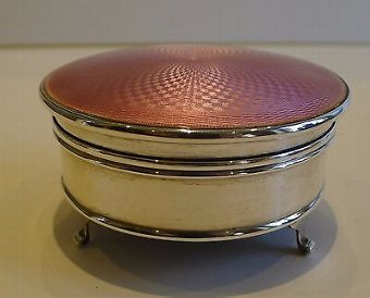 Antique Fabulous English Sterling Silver & Pink Guilloche Enamel Jewelry Box