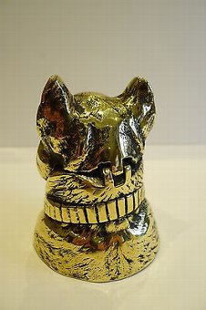 Antique Antique English Figural Brass Inkwell - Dog - French Bulldog, c.1880
