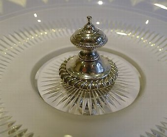 Antique Antique English Silver Plate and Glass Tazza / Compote / Dish c.1900