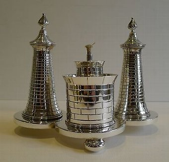 Antique Unusual Antique Novelty English Table Lighter In Silver Plate c.1890